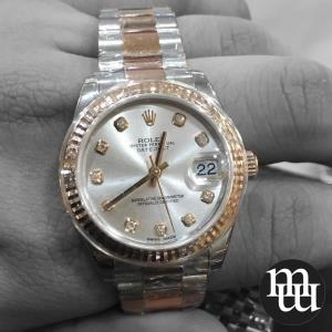 Jam Tangan Rolex Datejust Medium Size Rose Gold Steel Totone